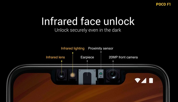 Xiaomi Pocophone F1 - Camara Frontal - infrarroja